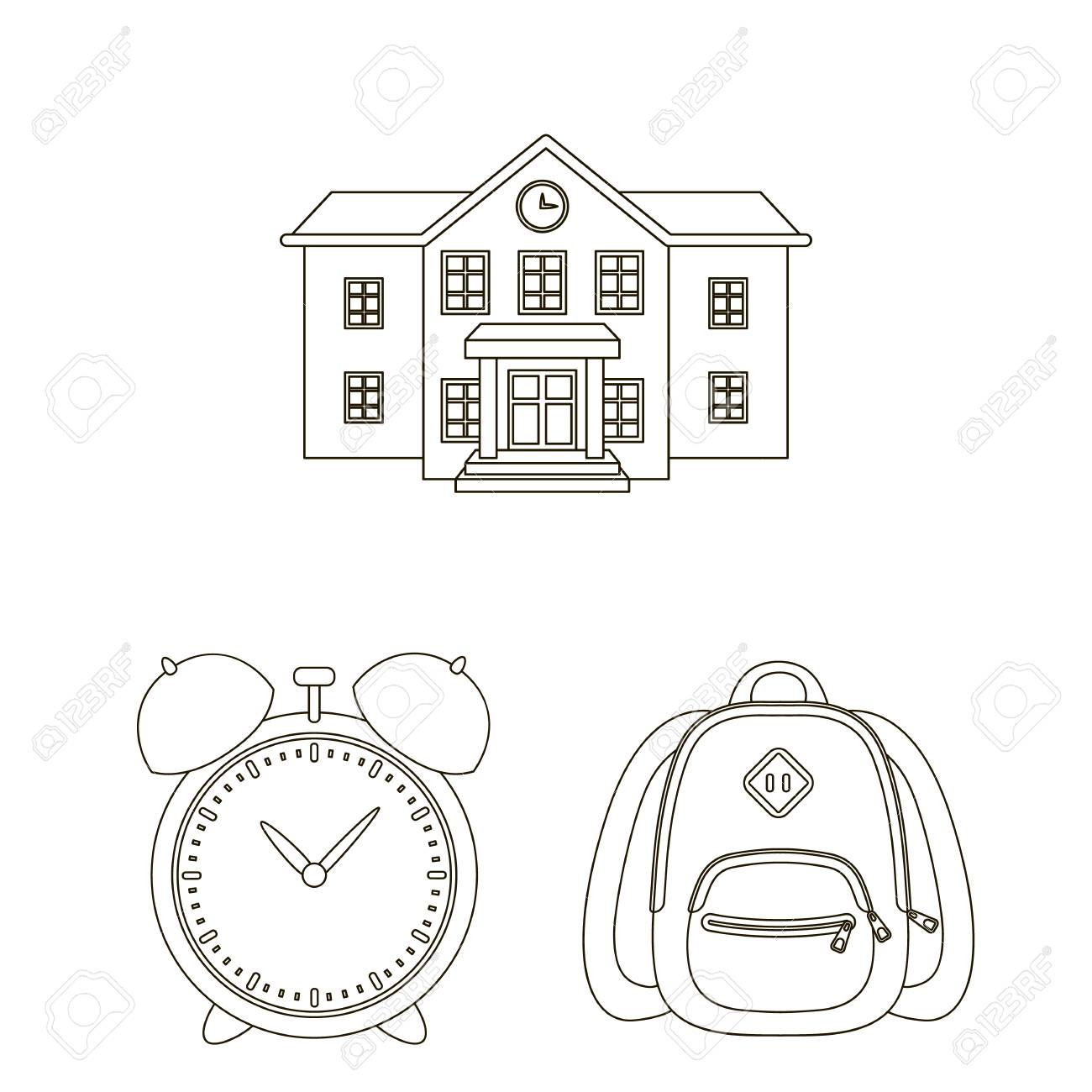 School and education outline icons in set collection for design College,