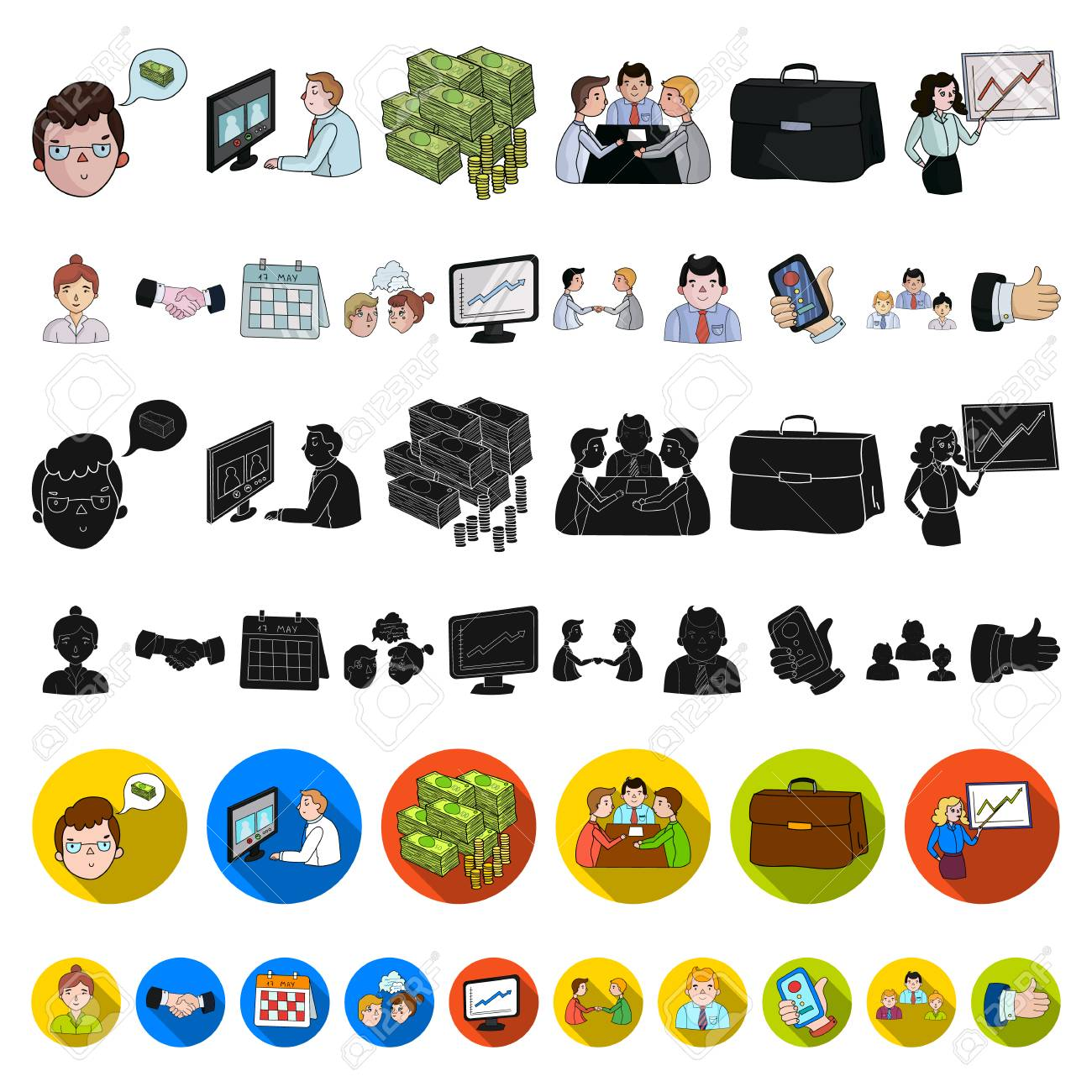 Business Conference And Negotiations cartoon icons in set collection for design.Business and training vector symbol stock web illustration. - 108970591