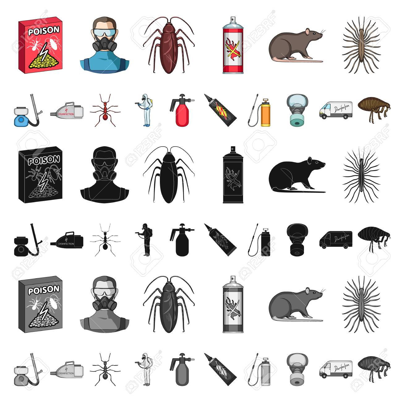 Pest, poison, personnel and equipment cartoon icons in set collection for design. Pest control service vector symbol stock illustration. - 109132672