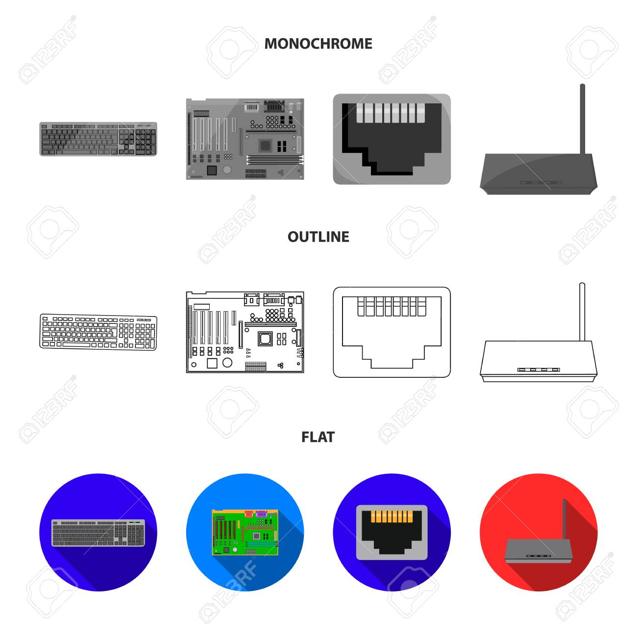 stock illustration Advanced Motherboard Diagram with Labels