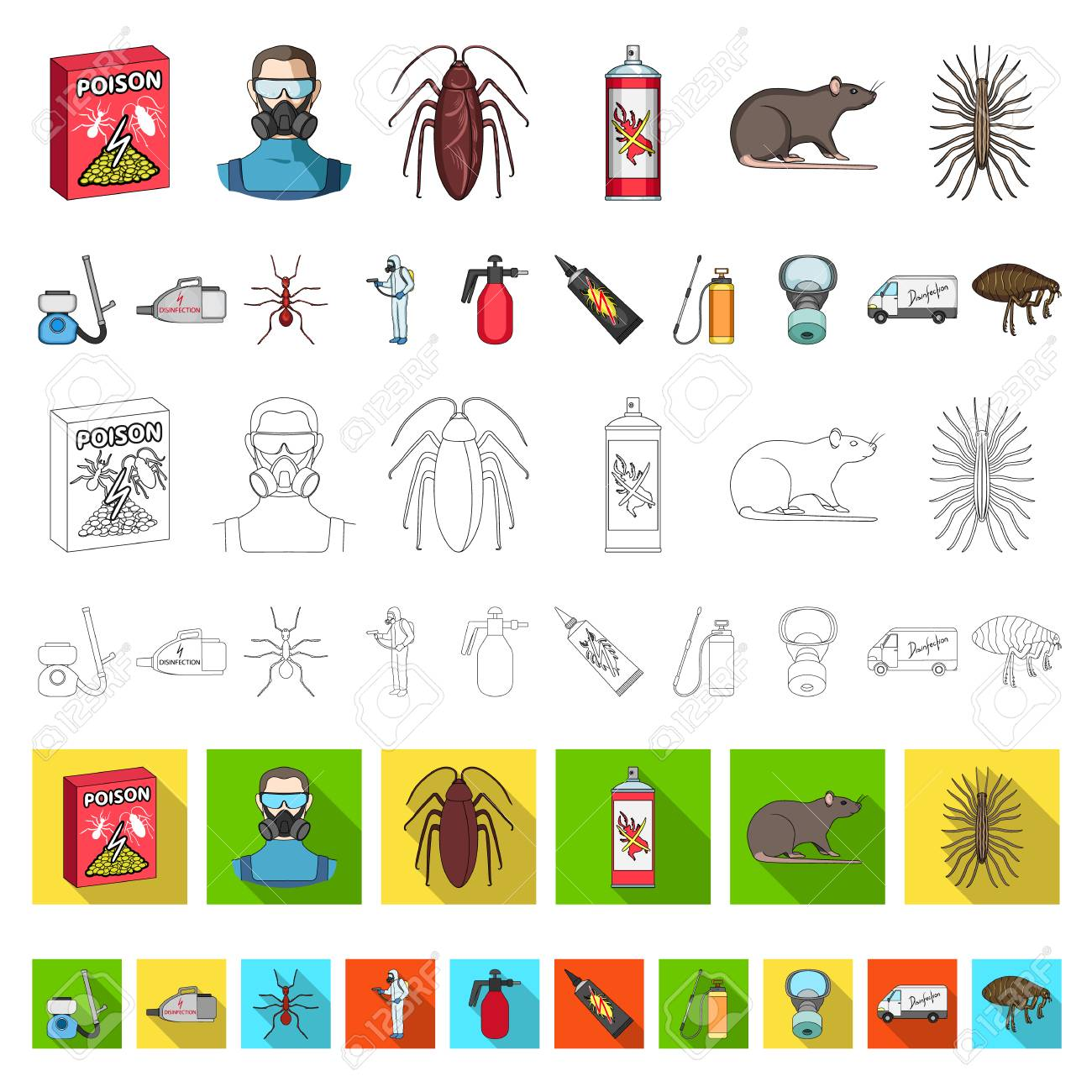 Pest, poison, personnel and equipment cartoon icons in set collection for design. Pest control service vector symbol stock web illustration. - 109229899