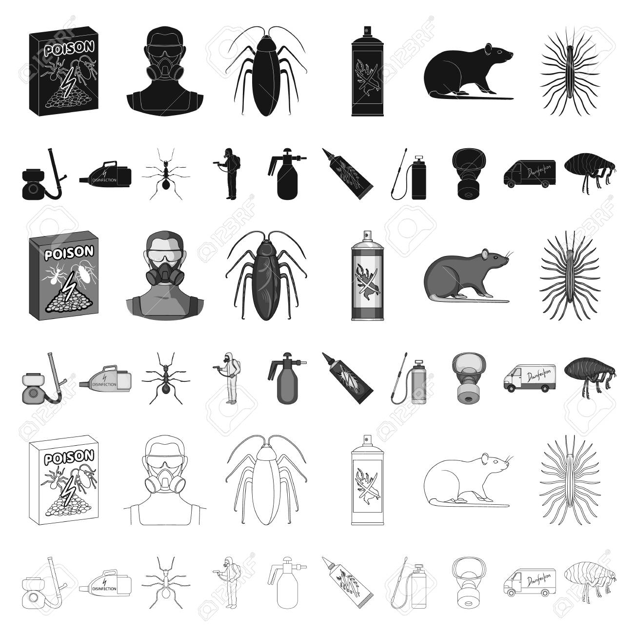 Pest, poison, personnel and equipment cartoon icons in set collection for design. Pest control service vector symbol stock web illustration. - 109288051