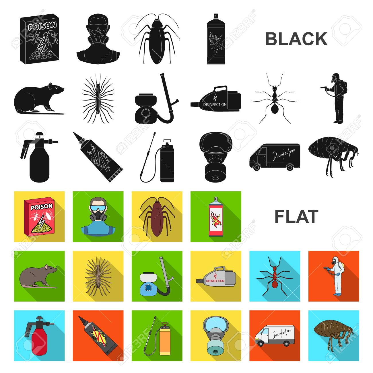 Pest, poison, personnel and equipment flat icons in set collection for design. Pest control service vector symbol stock web illustration. - 109977297