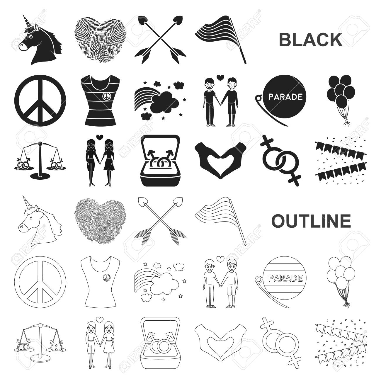 Gay and lesbian black icons in set collection for design.Sexual minority  and attributes vector