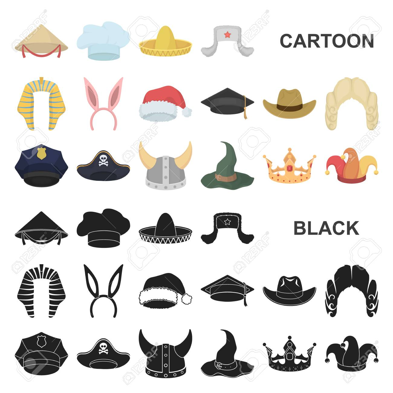 Different Kinds Of Hats Cartoon Icons In Set Collection For Design Headdress Royalty Free Cliparts Vectors And Stock Illustration Image 110263692