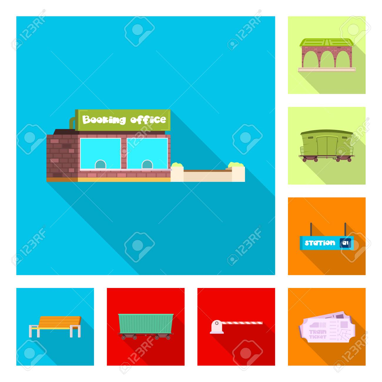 vector design of train and station logo set of train and ticket