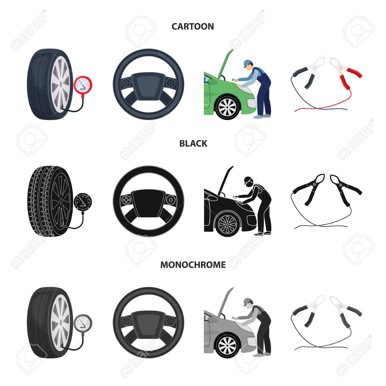 engine adjustment steering wheel clamp and wheel cartoon black