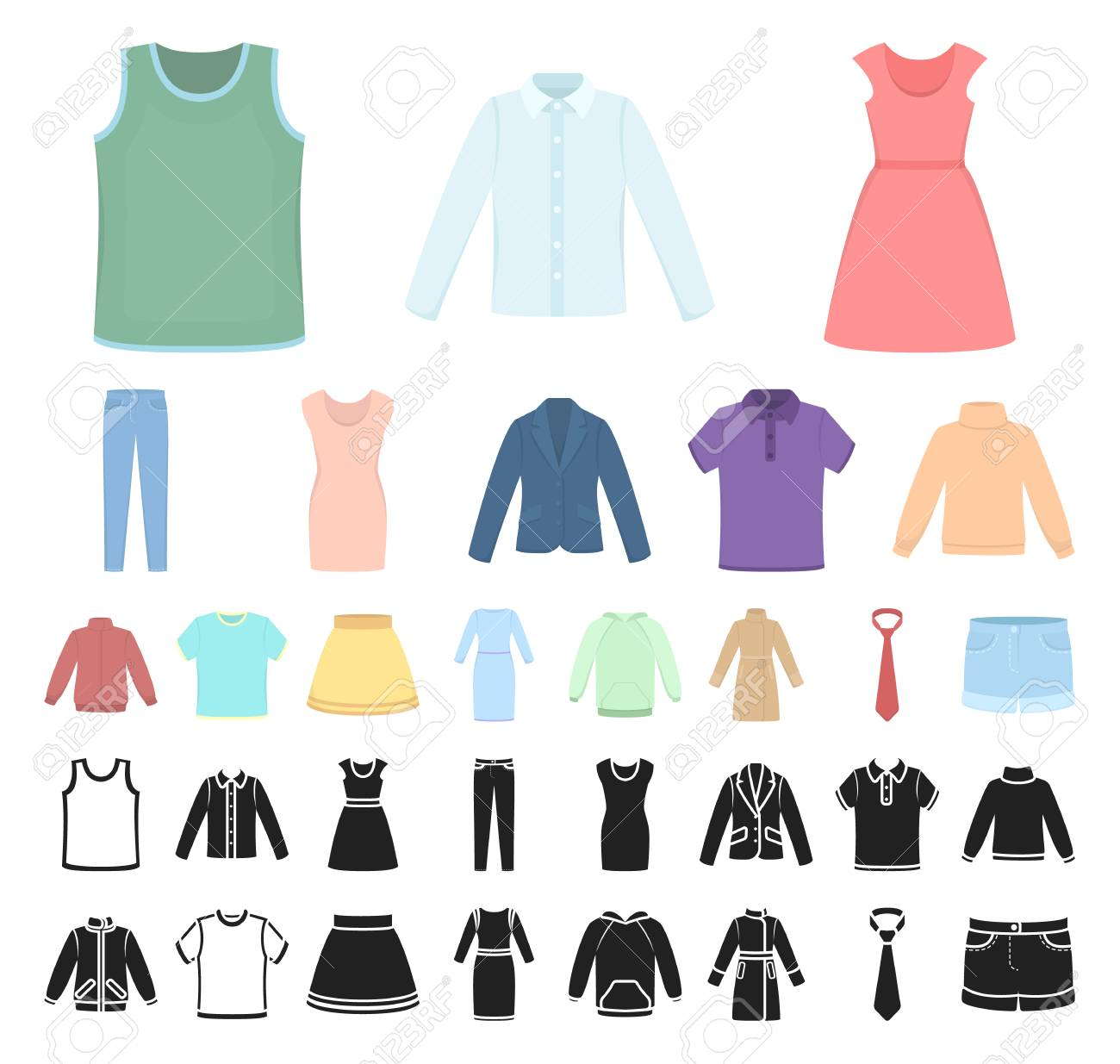 Different Kinds Of Clothes Cartoon Black Icons In Set Collection Royalty Free Cliparts Vectors And Stock Illustration Image 113967660