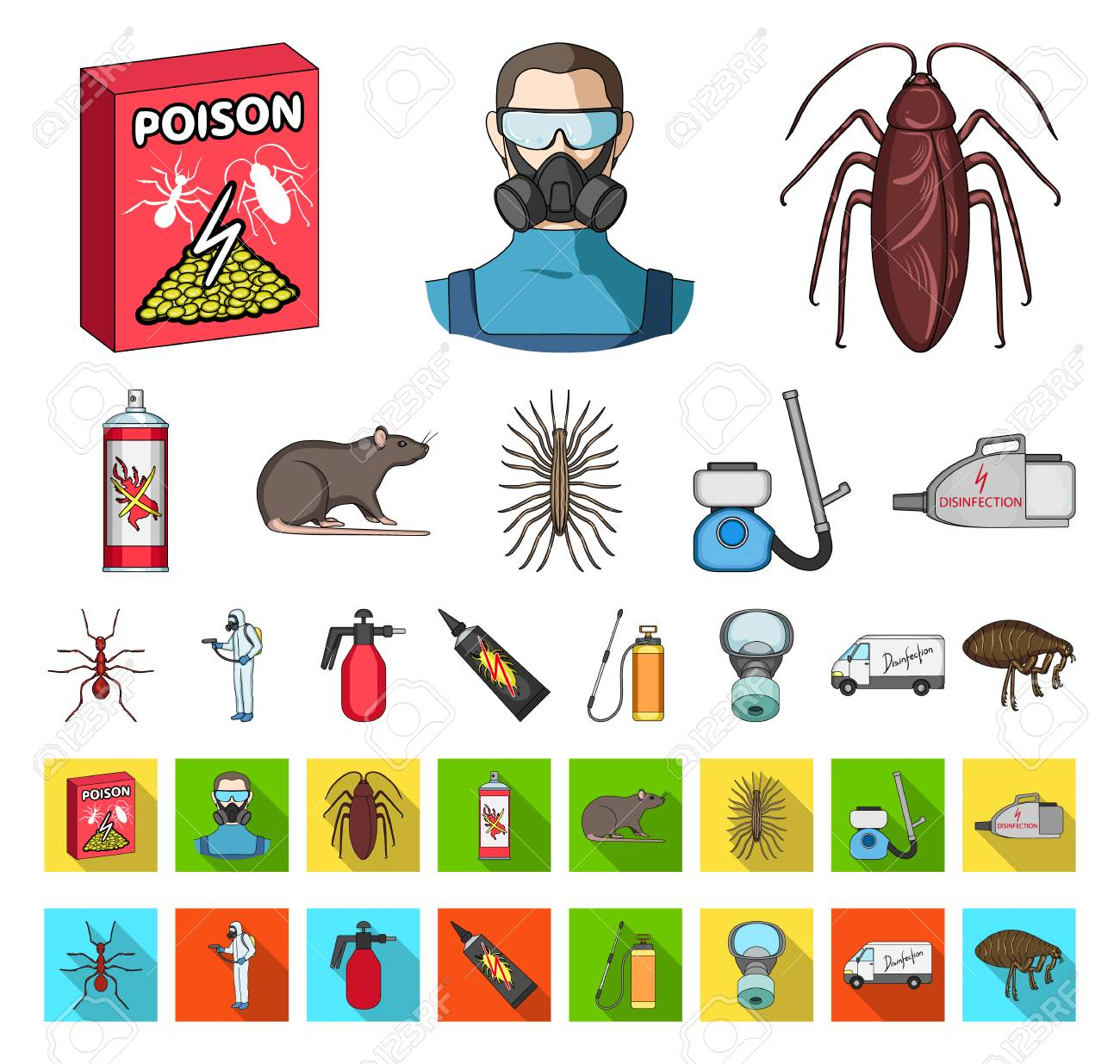 Pest, poison, personnel and equipment cartoon,flat icons in set collection for design. Pest control service vector symbol stock web illustration. - 114026791