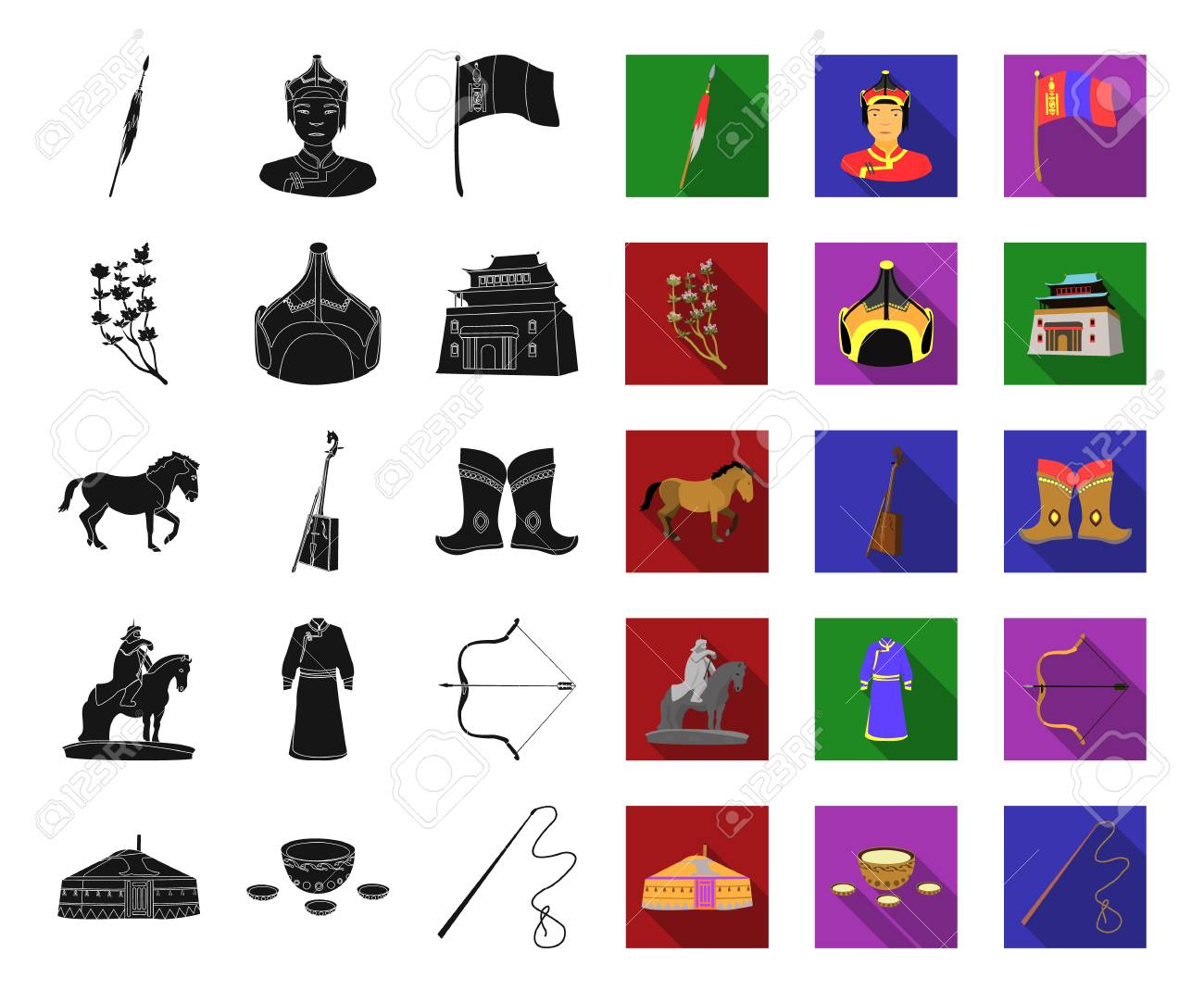 Country Mongolia black,flat icons in set collection for design.Territory and landmark vector symbol stock web illustration. - 115581259