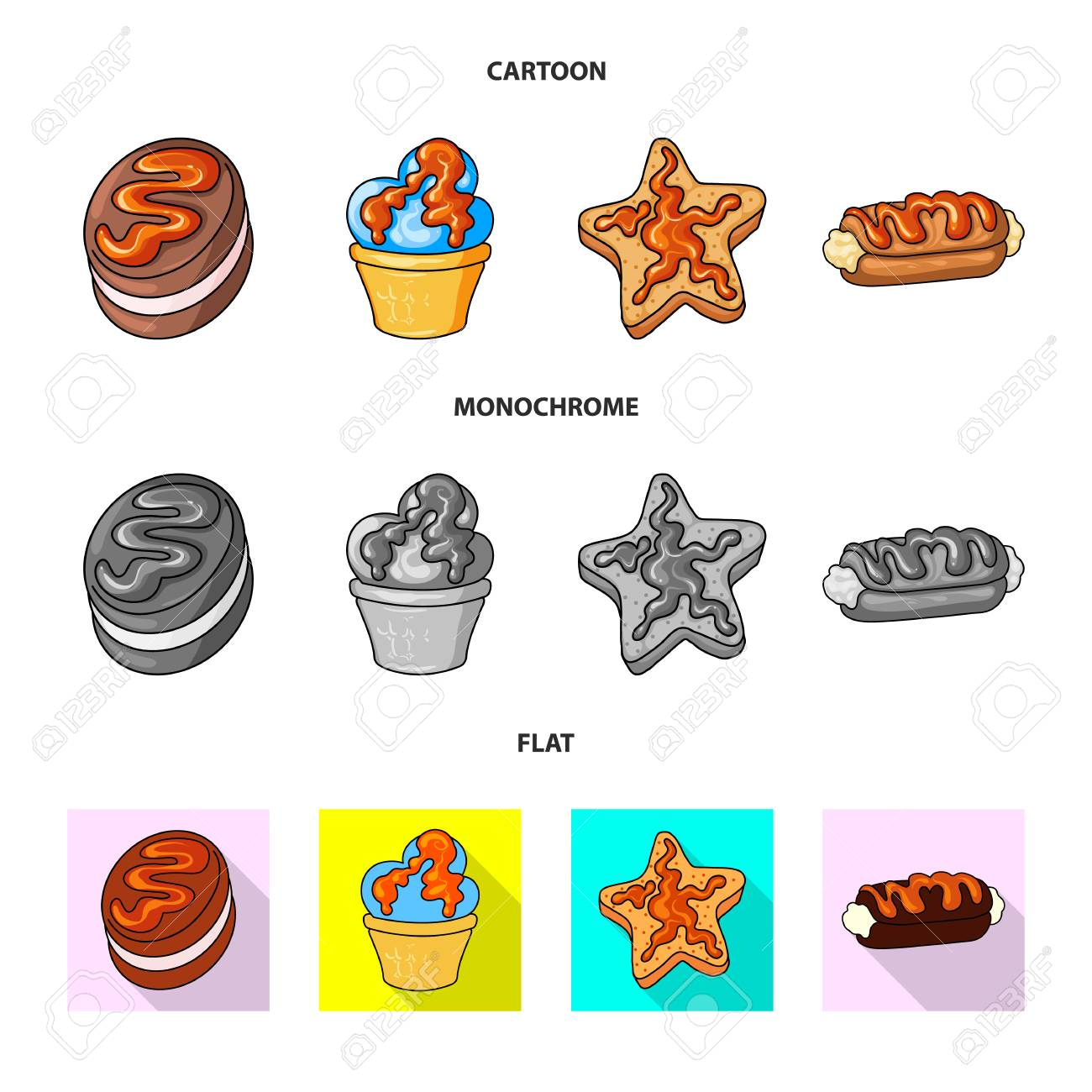 Vector illustration of confectionery and culinary symbol. Set of confectionery and product stock vector illustration. - 116377291