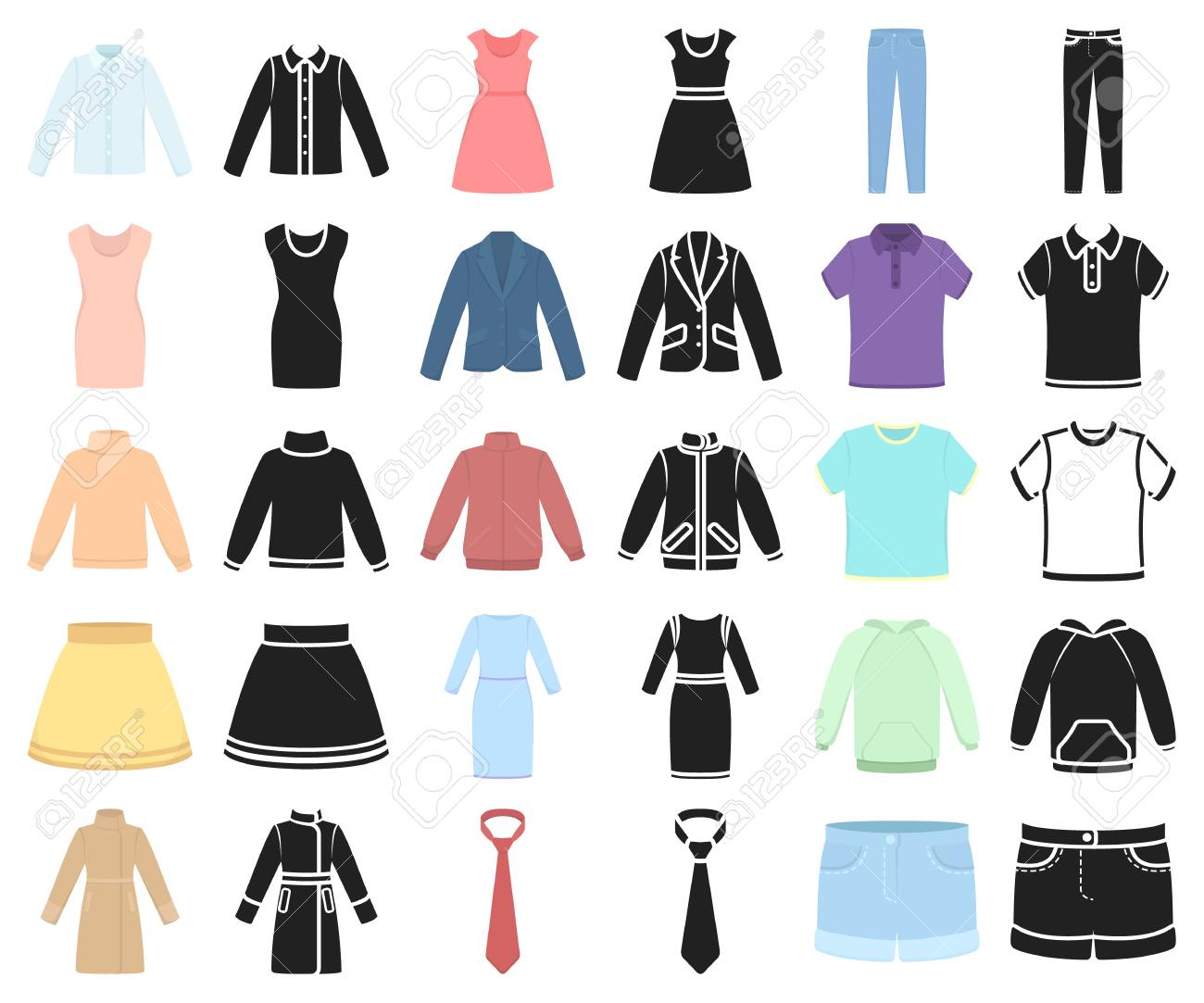 Different Kinds Of Clothes Cartoon Black Icons In Set Collection Royalty Free Cliparts Vectors And Stock Illustration Image 117297306