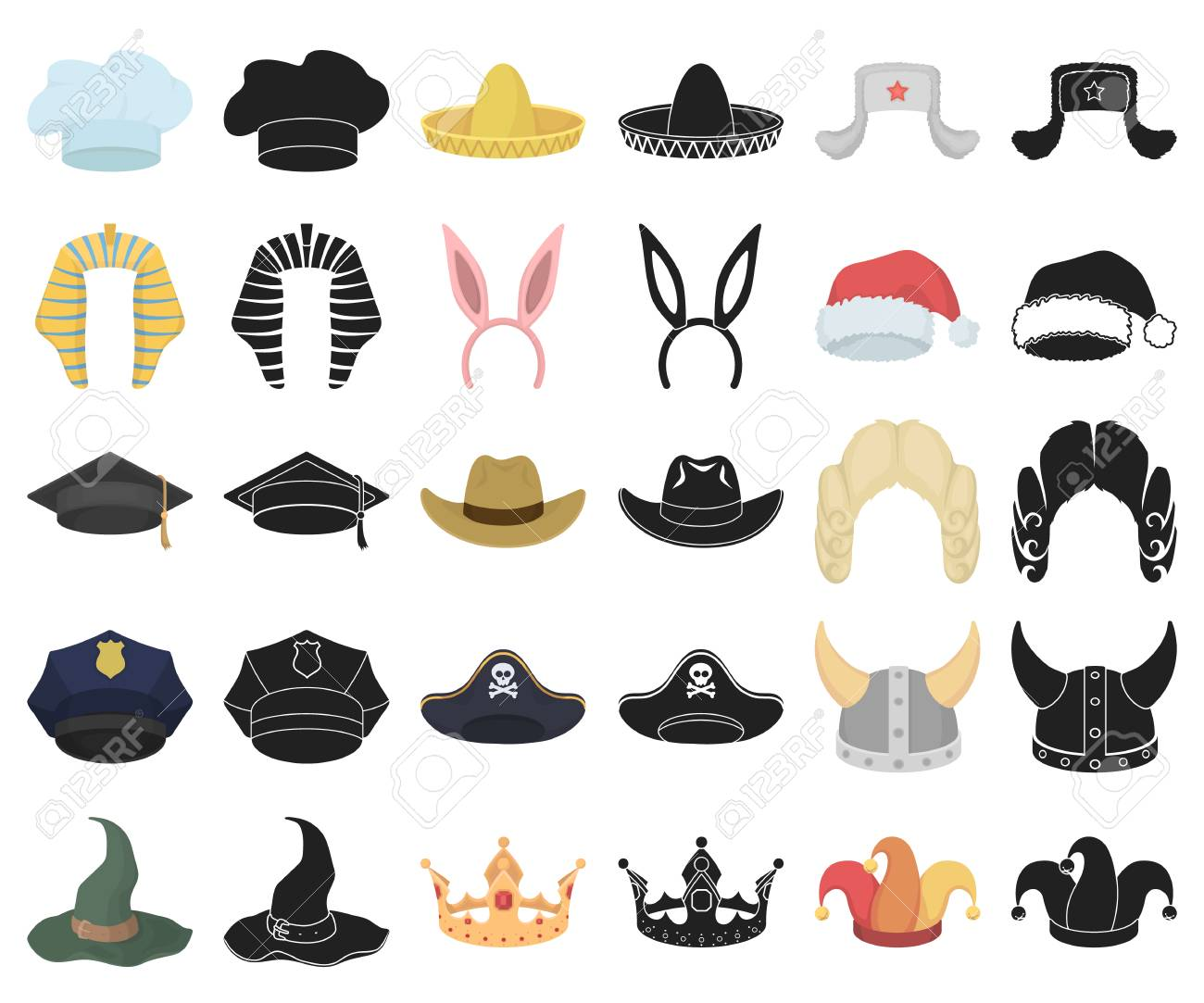 Different Kinds Of Hats Cartoon Black Icons In Set Collection Royalty Free Cliparts Vectors And Stock Illustration Image 117298146