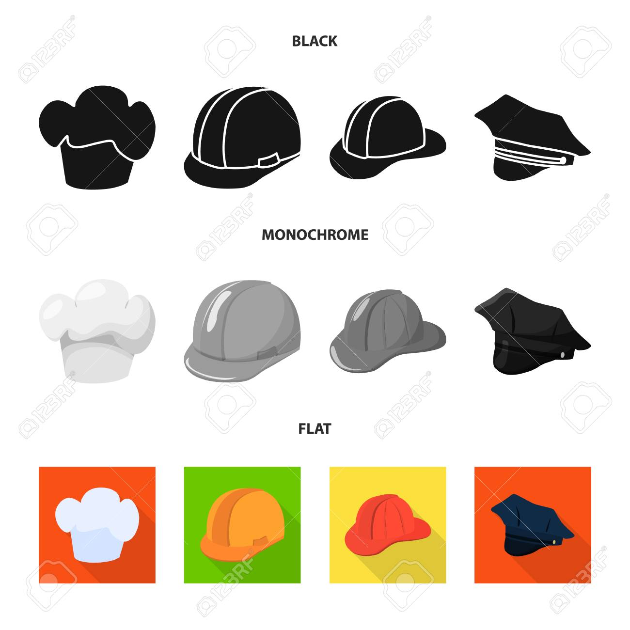 Vector illustration of clothing and cap sign. Collection of clothing and beret stock symbol for web. - 124934932