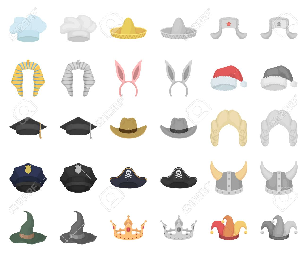 Different Kinds Of Hats Cartoon ea67609ac73f