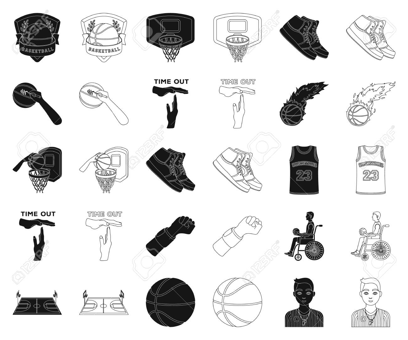 Basketball and attributes black,outline icons in set collection for design.Basketball player and equipment vector symbol stock web illustration. - 118028845