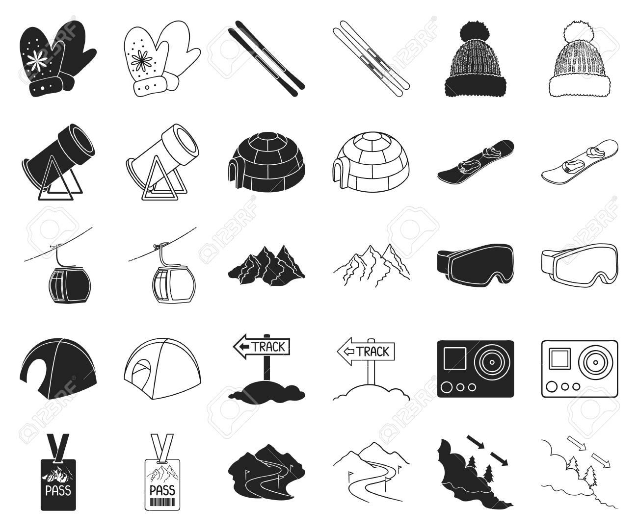Ski resort and equipment black,outline icons in set collection for design. Entertainment and recreation vector symbol stock web illustration. - 118029333