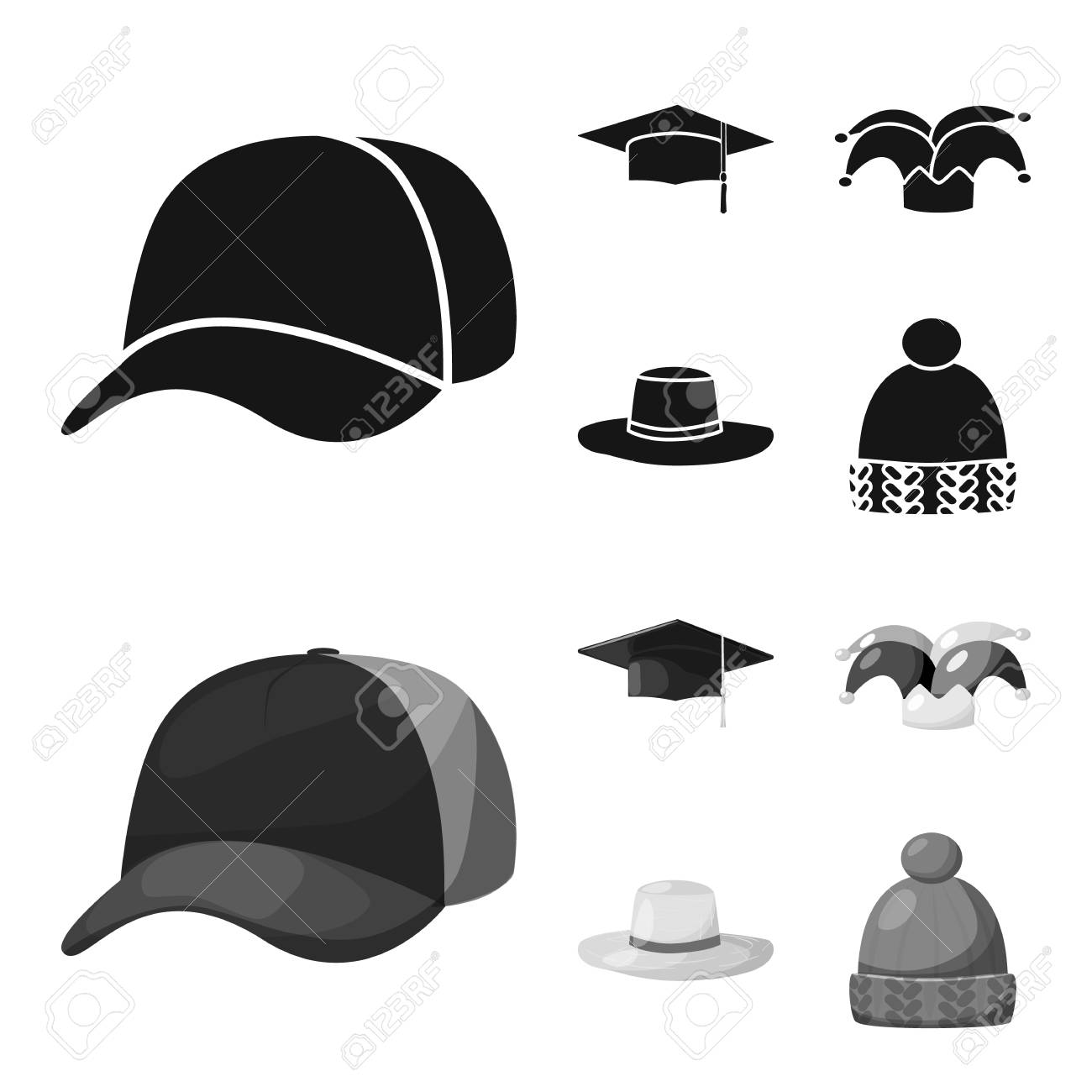 Vector design of clothing and cap symbol. Collection of clothing and beret stock vector illustration. - 124734534