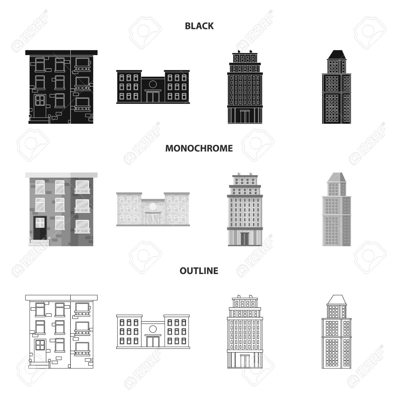 Isolated object of municipal and center logo. Set of municipal and estate vector icon for stock. - 120085988