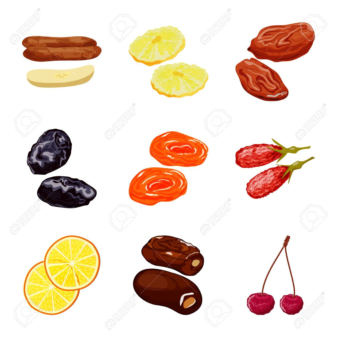 Vector design of fruit and dried. Set of fruit and food stock symbol for web. - 120588904