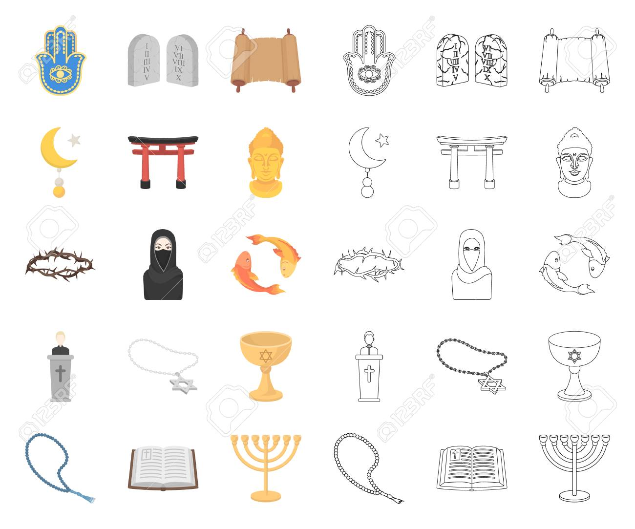Religion and belief cartoon,outline icons in set collection for