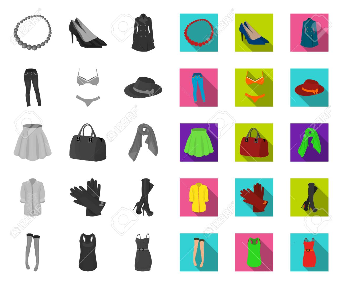 Womens Clothing mono,flat icons in set collection for design.Clothing Varieties and Accessories vector symbol stock web illustration. - 122300827