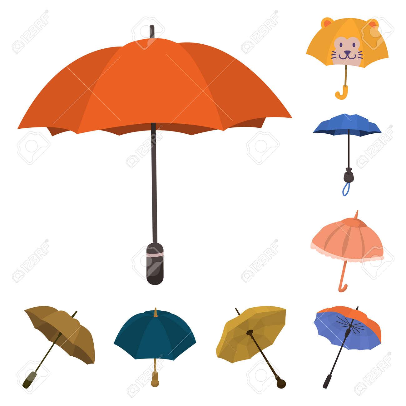 Vector design of umbrella and rain symbol. Collection of umbrella and weather vector icon for stock. - 123034339