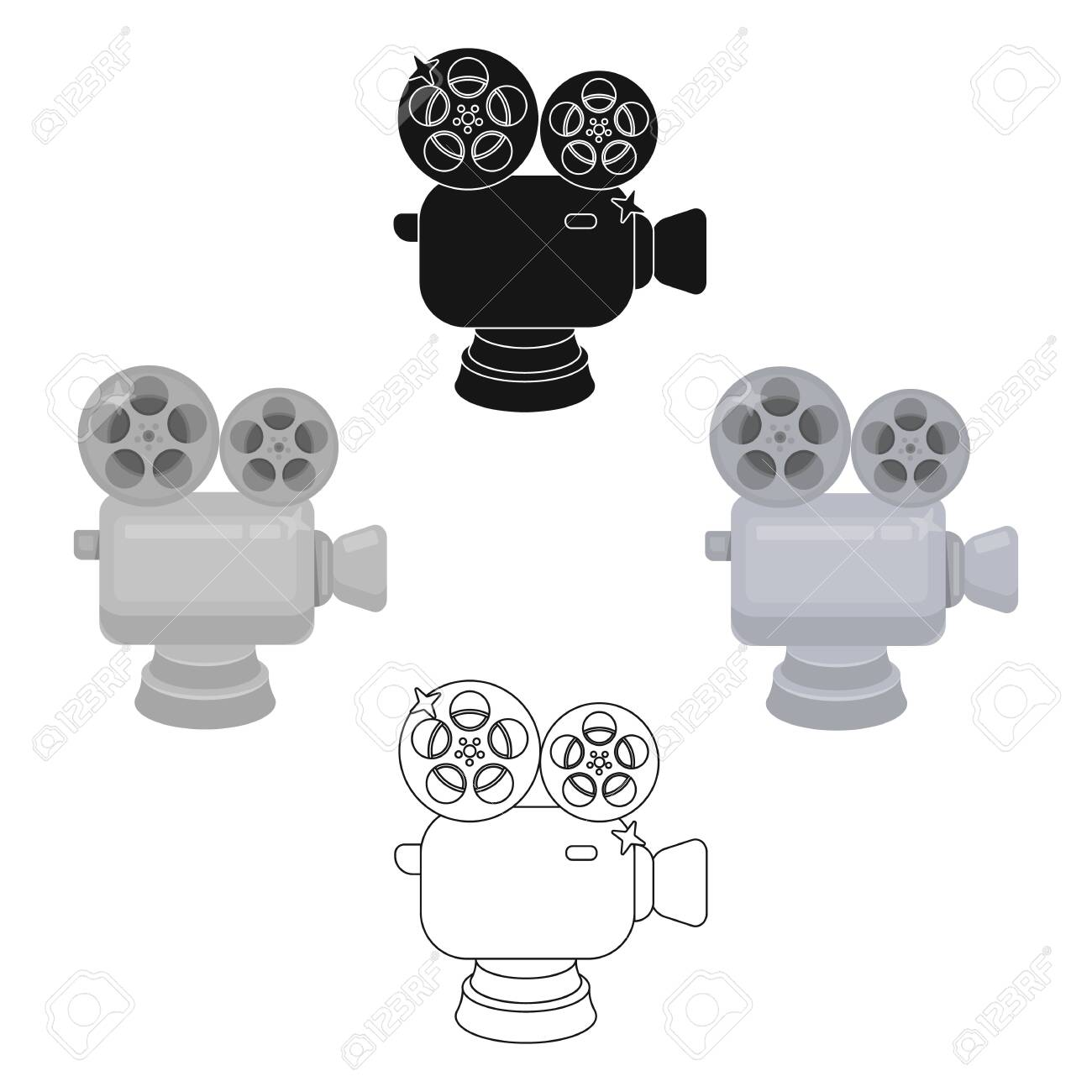 Silver camera with film.The award for the best filming of the movie.Movie awards single icon in cartoon,black style vector symbol stock illustration. - 123471413