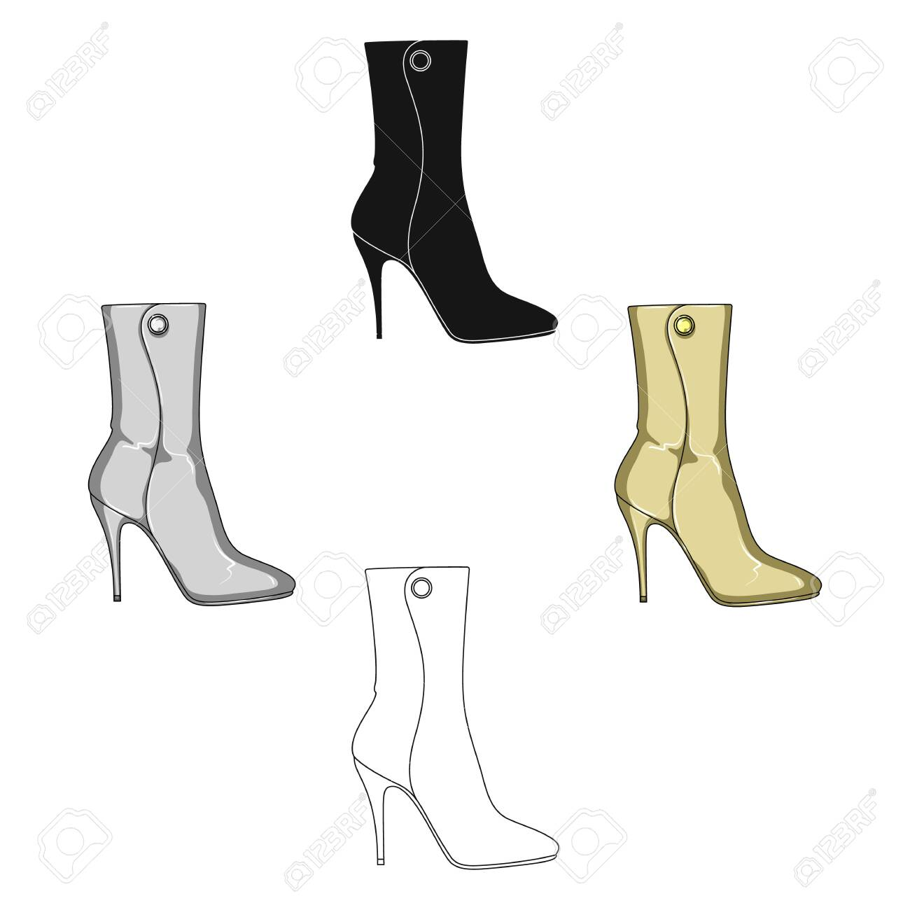 111bf5ce6cd Demi tall womens boots high heel.Different shoes single icon in  cartoon,black style