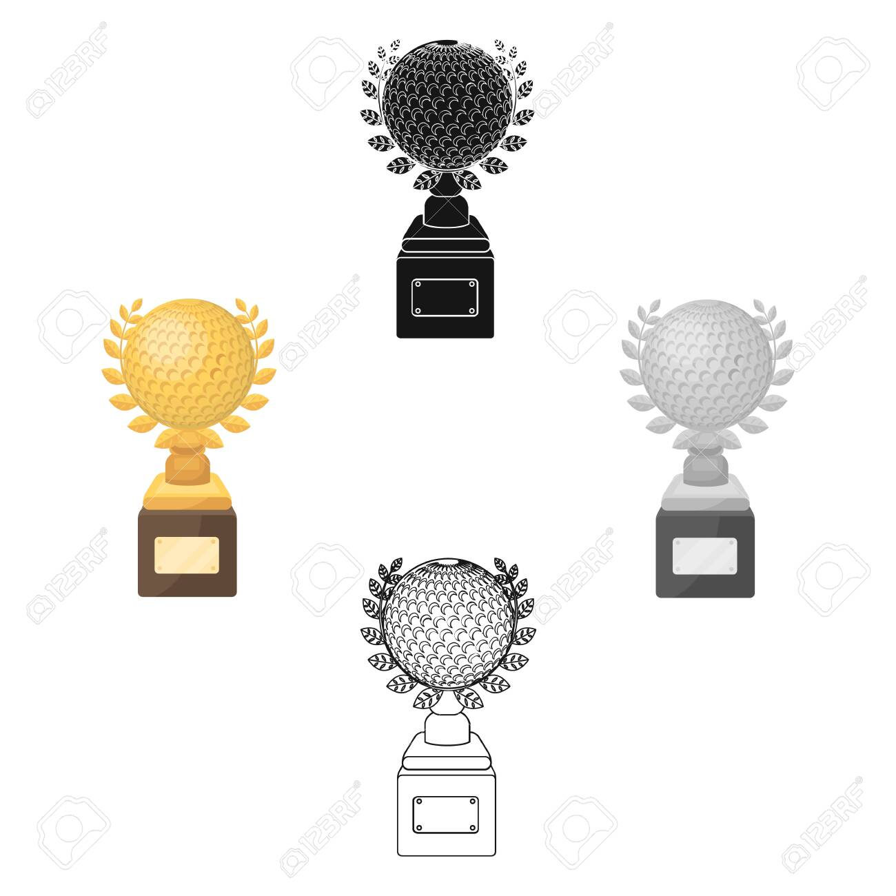 Cup For Winning A Golf Tournament Golf Club Single Icon In Cartoon Black Royalty Free Cliparts Vectors And Stock Illustration Image 123876357