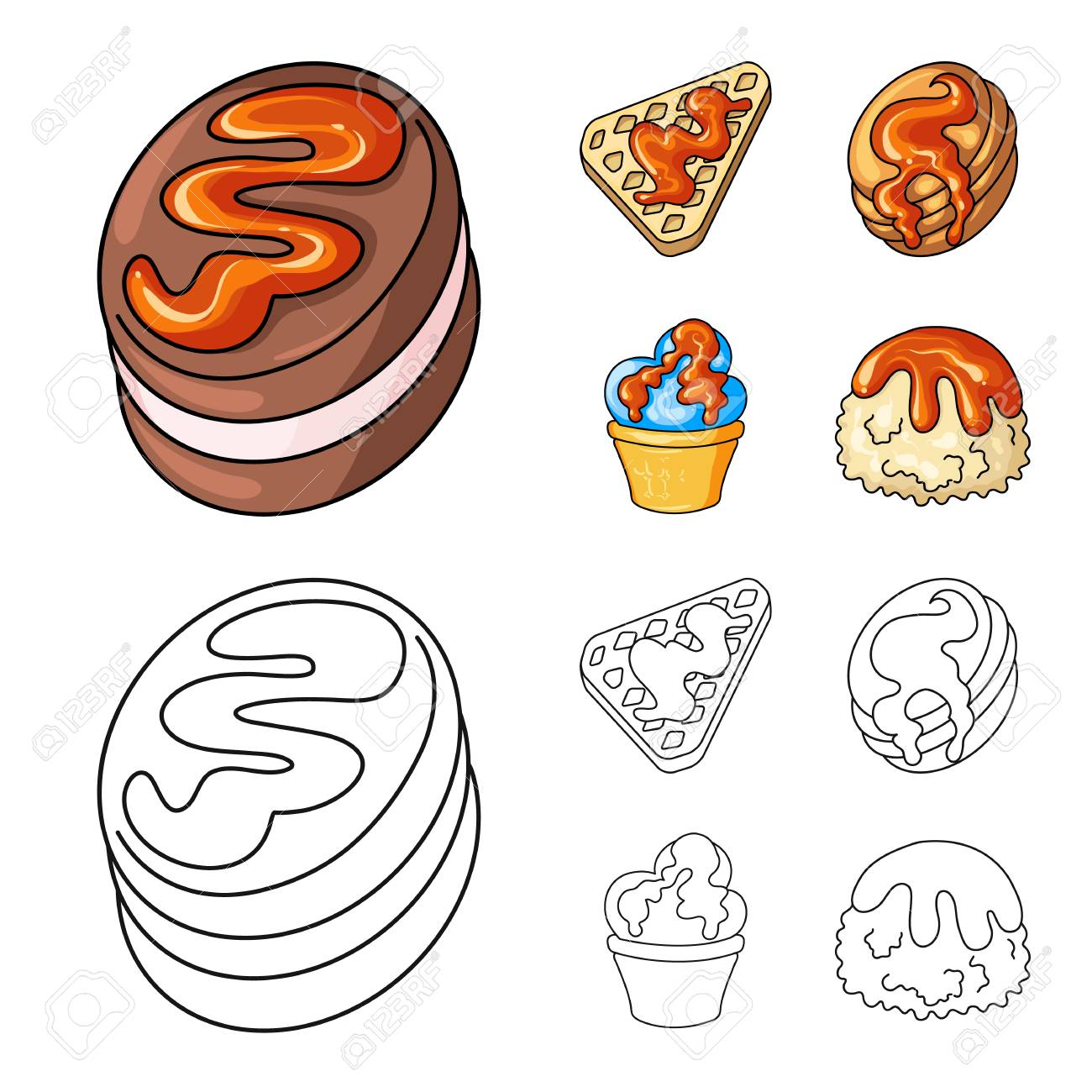 Isolated object of confectionery and culinary icon. Collection of confectionery and product stock symbol for web. - 124838522