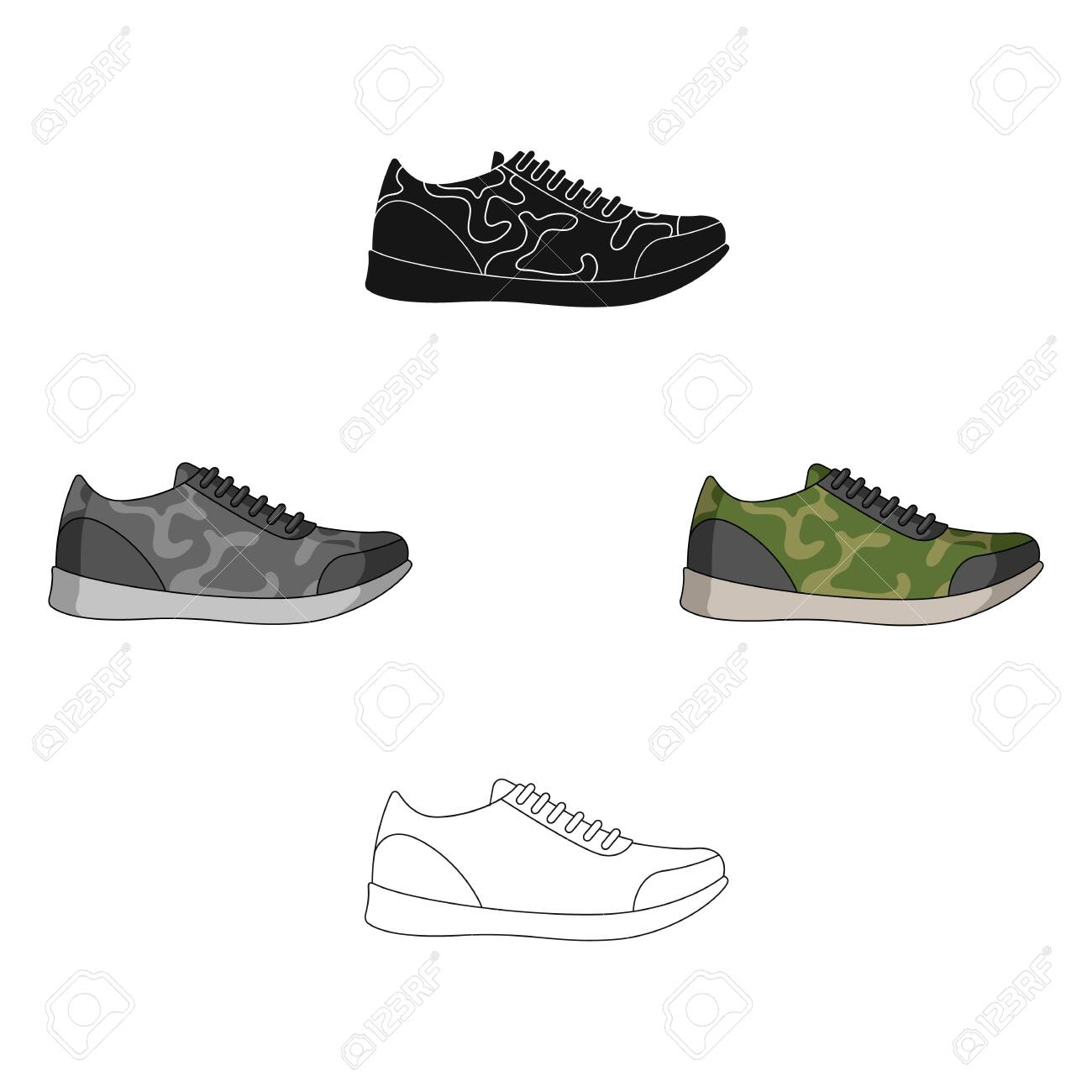 Rag camouflage sneakers for everyday wear.Different shoes single icon in cartoon,black style vector symbol stock illustration. - 124278508