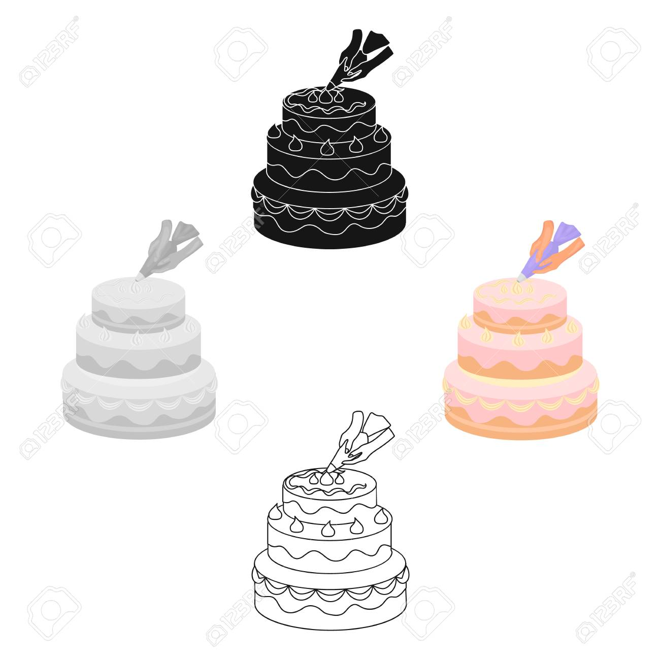 Decorating Of Birthday Cake Icon In Cartoon Black Style Isolated Royalty Free Cliparts Vectors And Stock Illustration Image 125098625