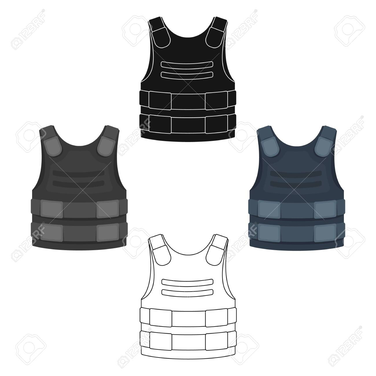 Bulletproof vest icon in cartoon,black style isolated on white..