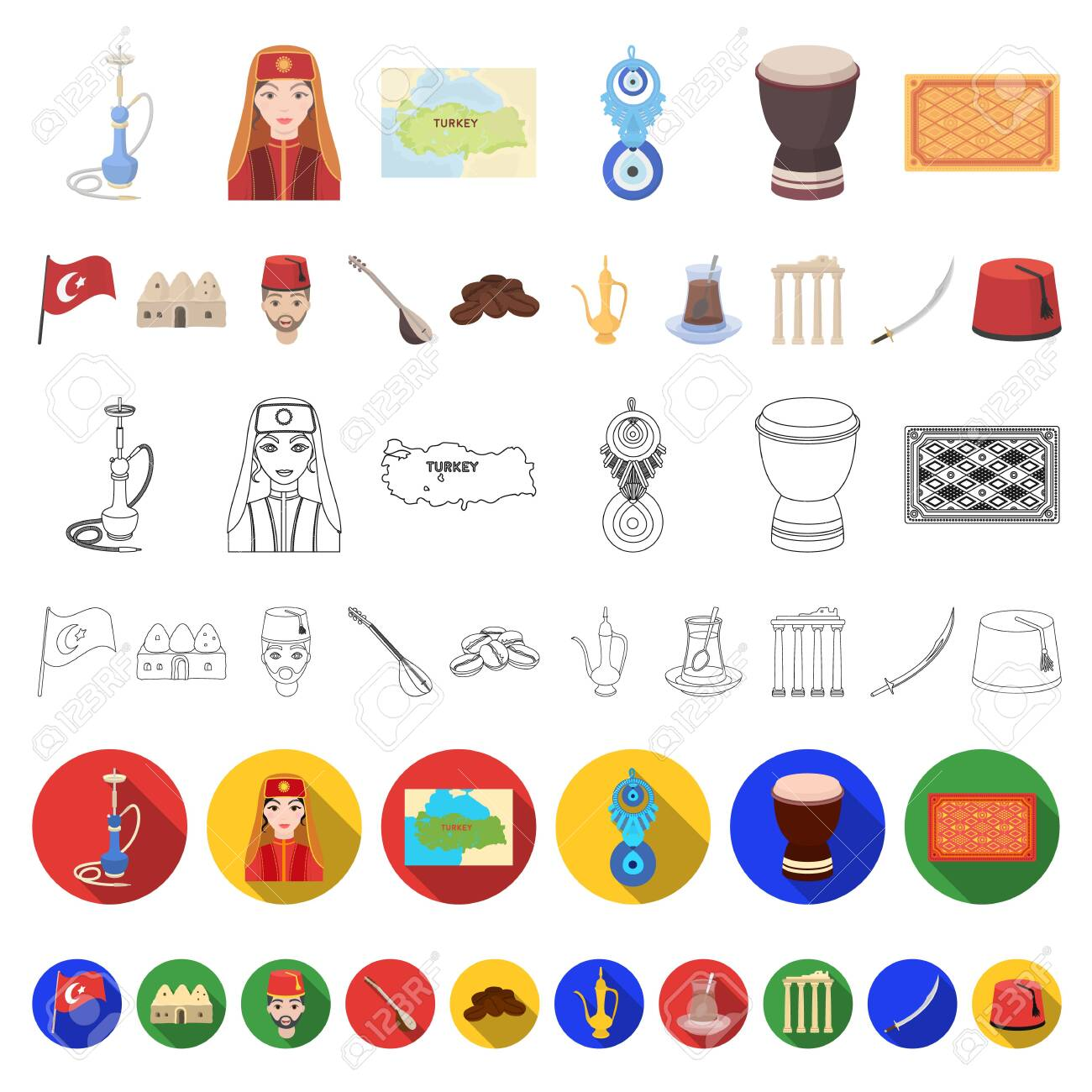 Turkey country cartoon icons in set collection for design.Travel and attractions bitmap symbol stock web illustration. - 133306510