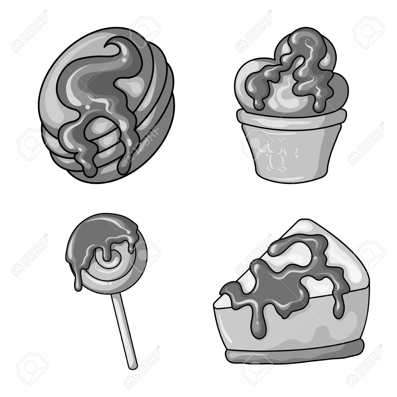 Isolated object of sweet and caramel . Set of sweet and culinary stock symbol for web. - 129853472