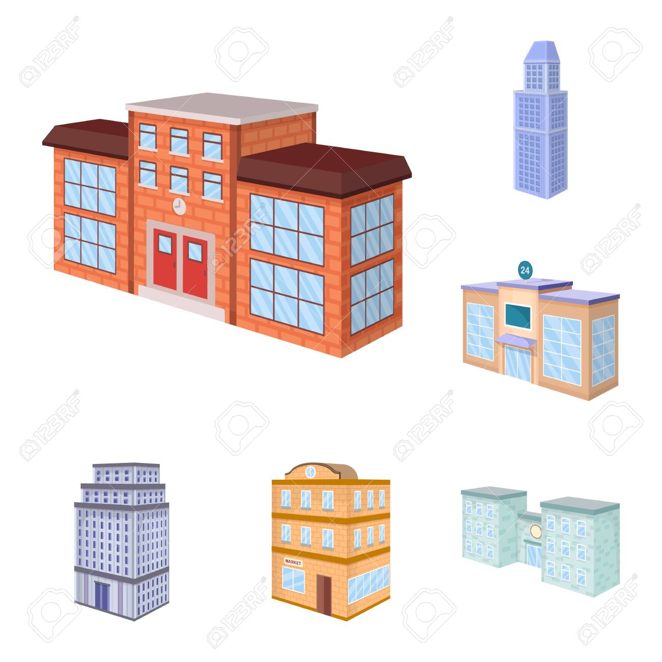 Vector illustration of city and build sign. Collection of city and apartment vector icon for stock. - 141360829