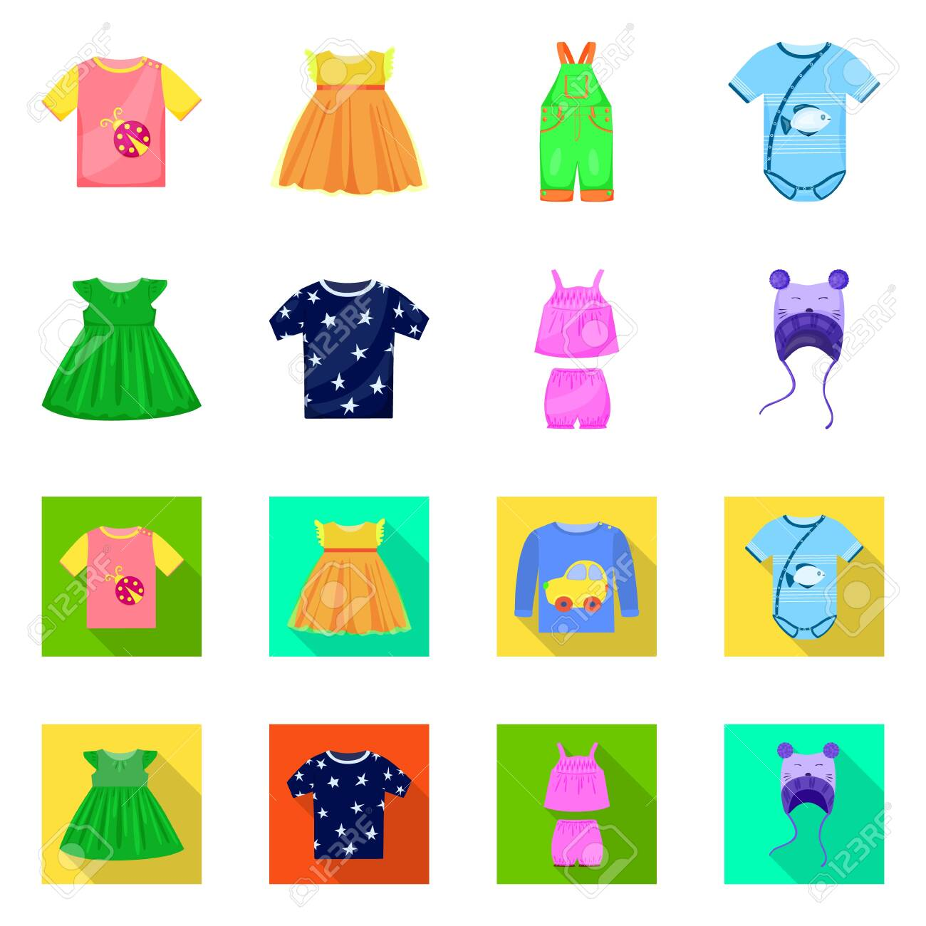 Vector illustration of fashion and garment sign. Set of fashion and cotton stock symbol for web. - 143495744