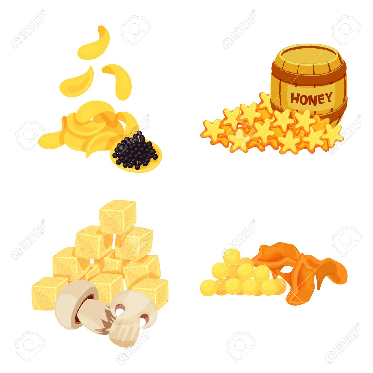 Vector design of food and product icon. Set of food and party stock vector illustration. - 143495746