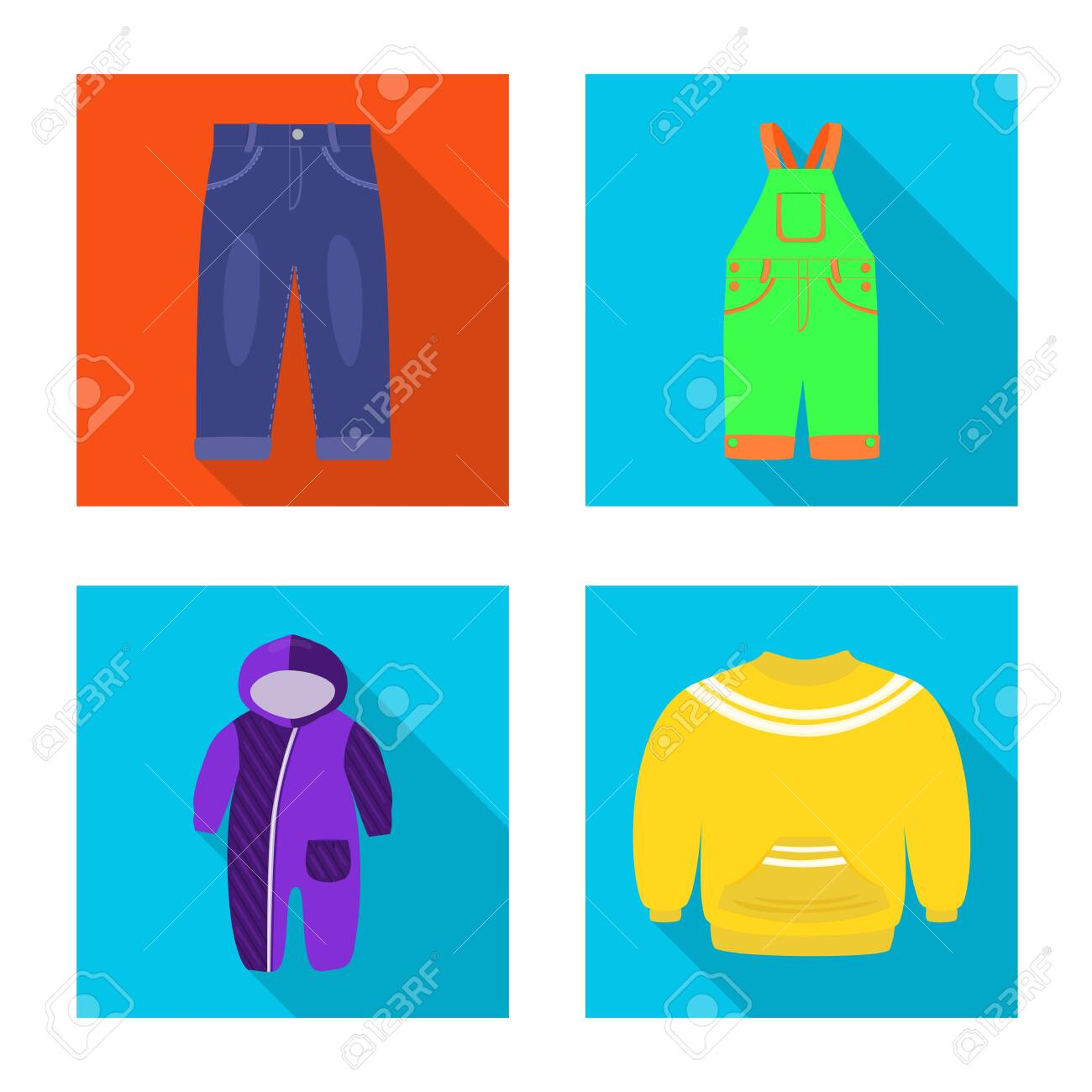 Vector illustration of fashion and garment . Collection of fashion and cotton stock symbol for web. - 143495909