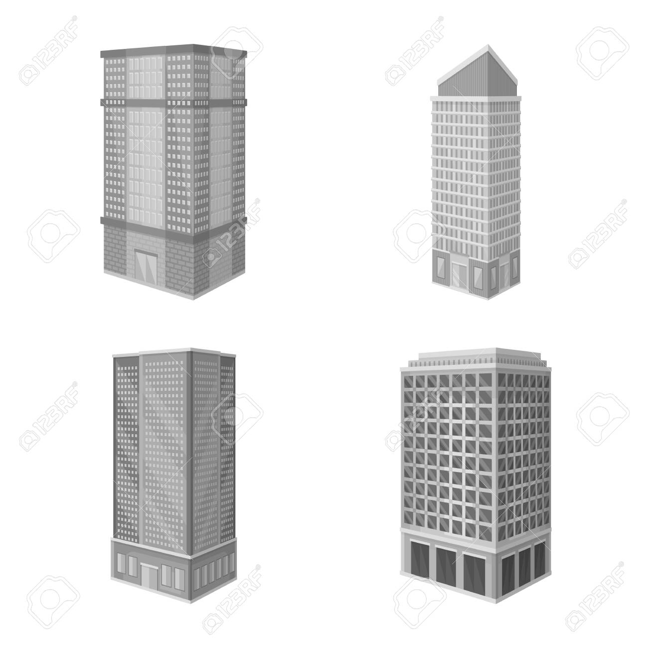 Vector illustration of realty and modern sign. Set of realty and building stock vector illustration. - 143495916