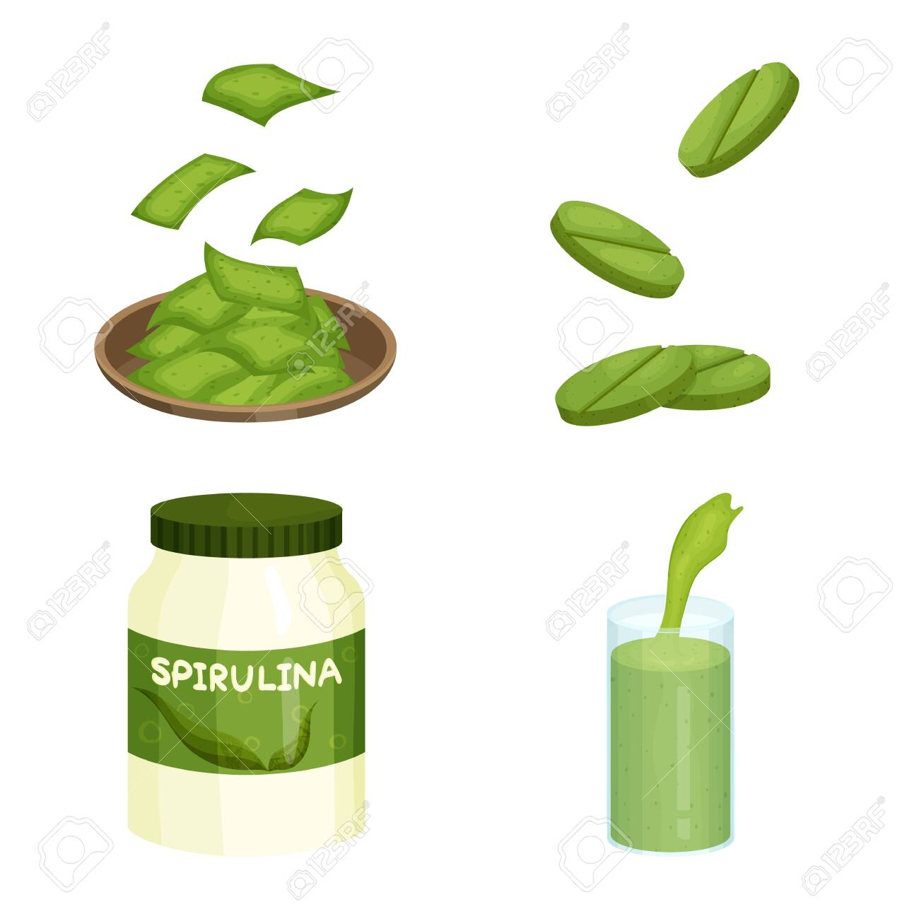 Vector illustration of spirulina and seaweed sign. Set of spirulina and vegan stock symbol for web. - 143495917