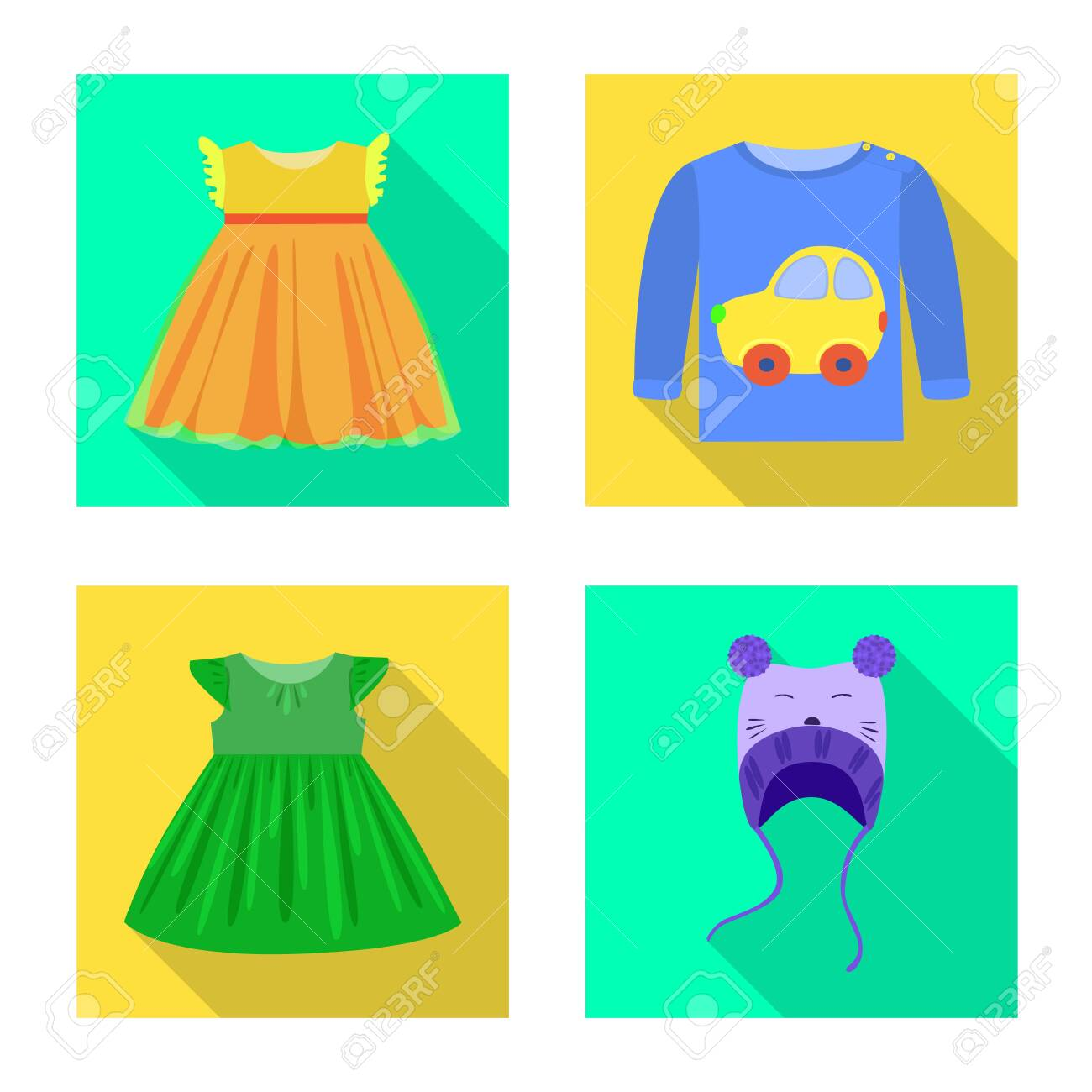Vector illustration of fashion and garment . Collection of fashion and cotton vector icon for stock. - 143495926