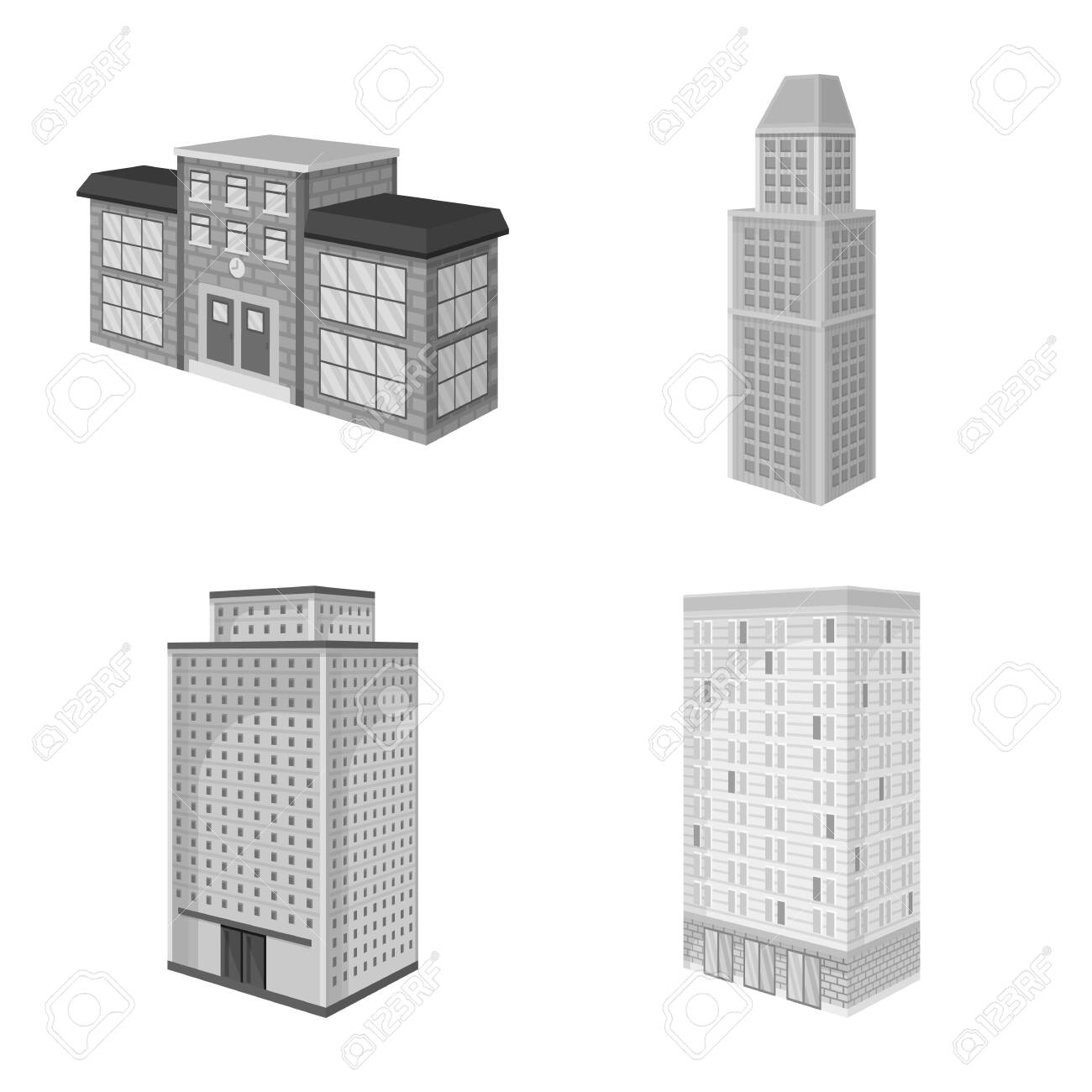 Vector illustration of realty and modern . Set of realty and building stock vector illustration. - 143495928