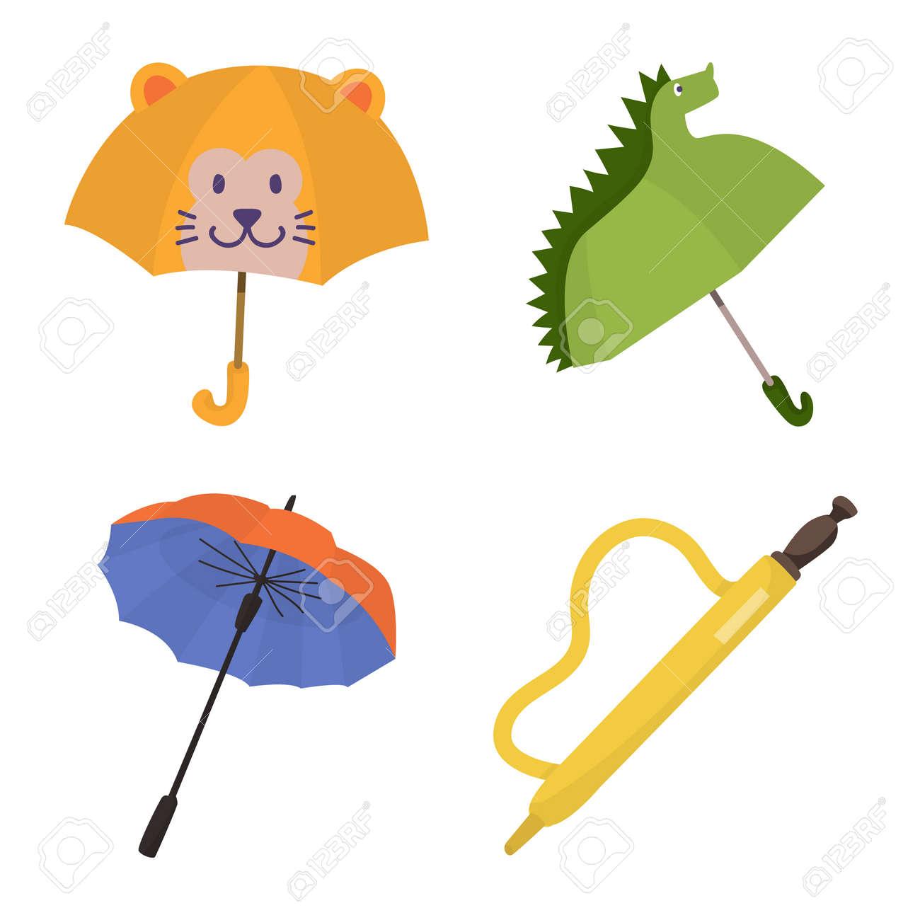 Vector illustration of umbrella and rain symbol. Set of umbrella and weather stock vector illustration. - 143496079