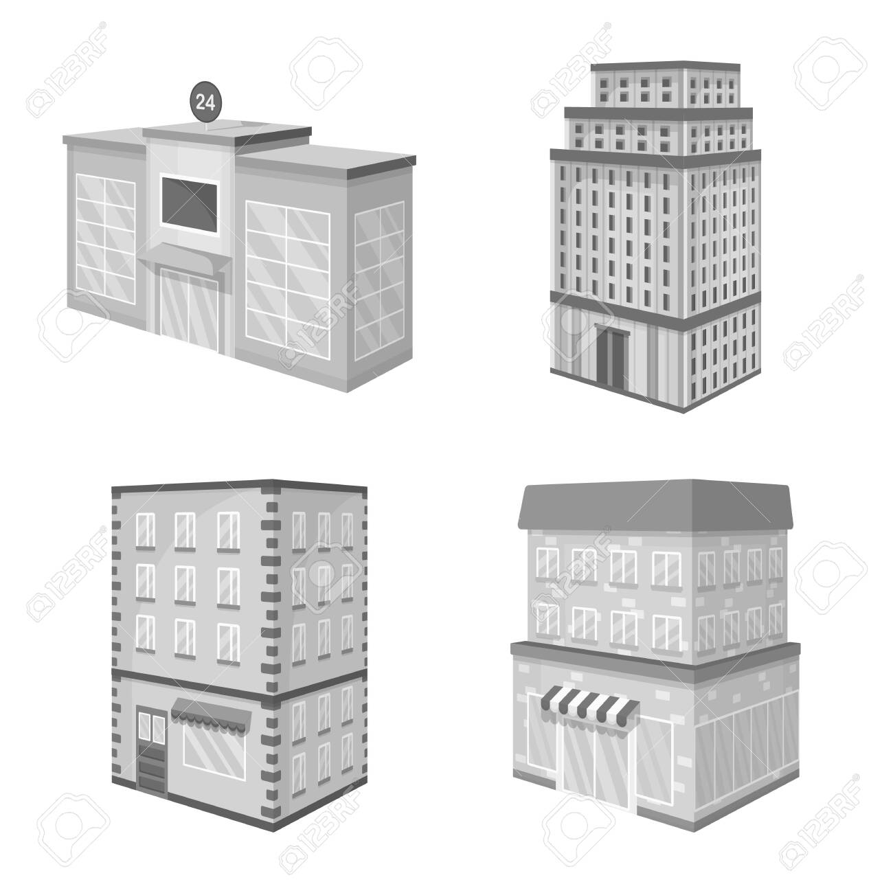 Isolated object of realty and modern sign. Collection of realty and building stock symbol for web. - 143496080