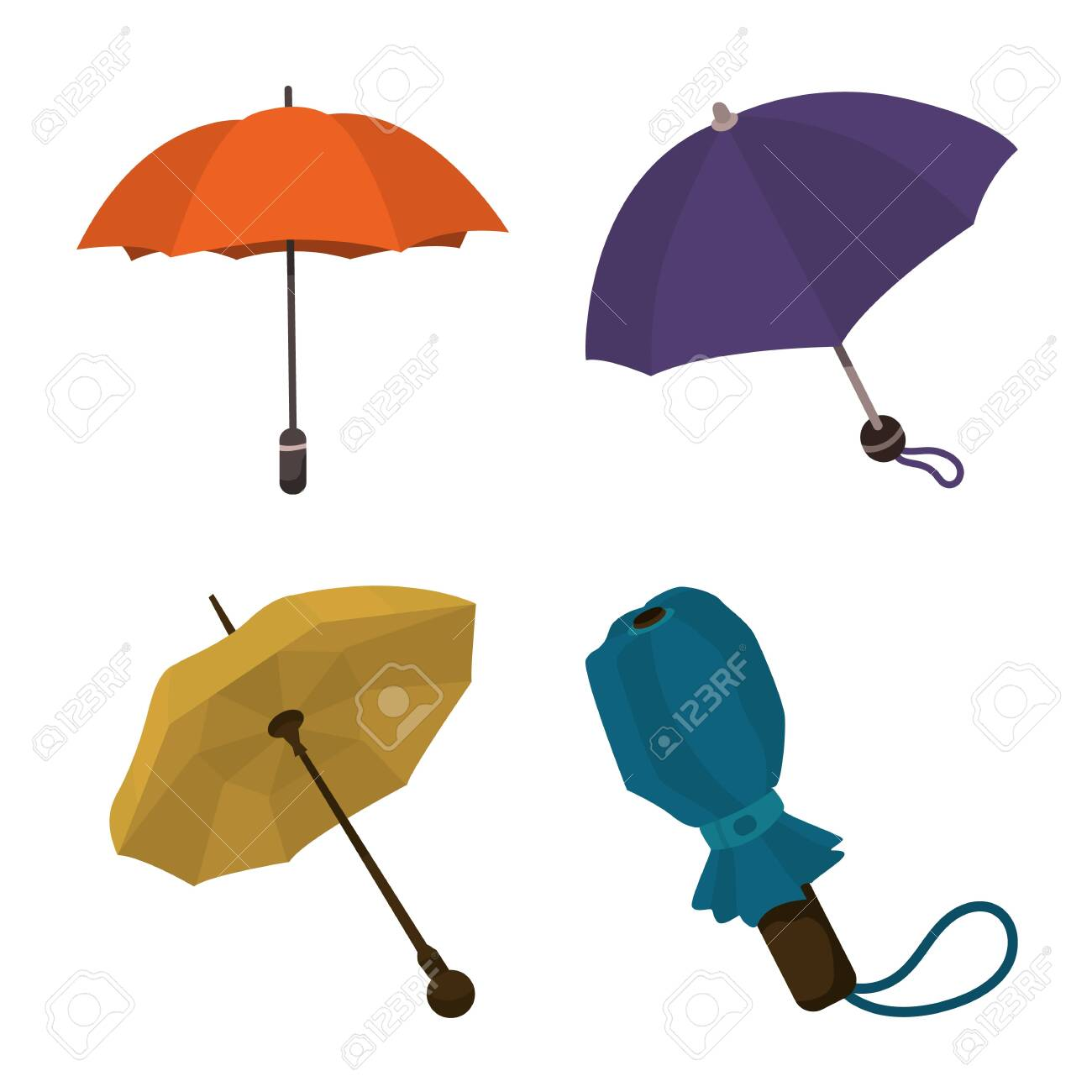 Vector design of umbrella and rain sign. Collection of umbrella and weather stock symbol for web. - 143496092