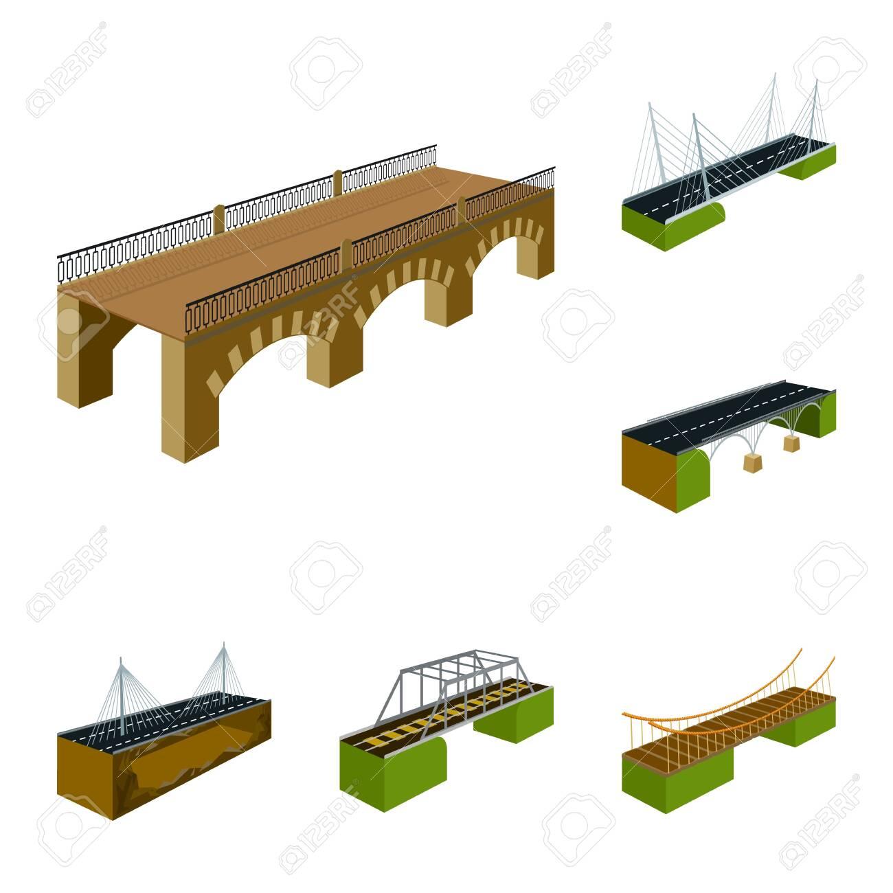 Vector design of bridgework and architecture . Set of bridgework and structure vector icon for stock. - 143496098