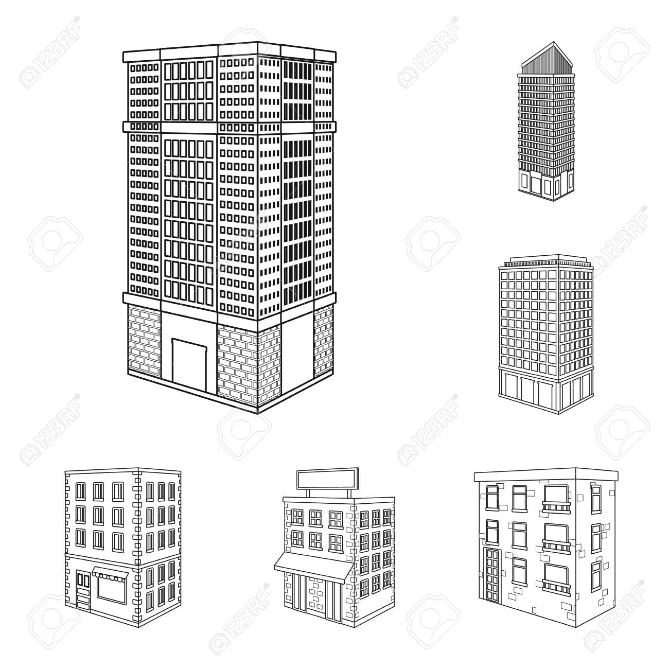 Vector illustration of home and apartment sign. Collection of home and modern vector icon for stock. - 143496097