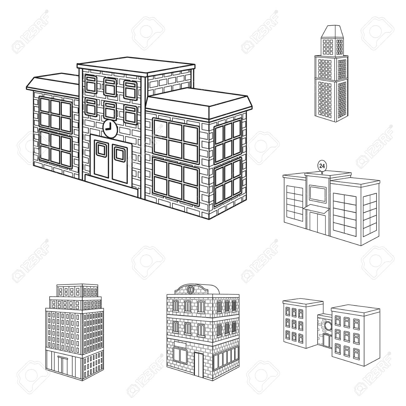 Isolated object of home and apartment icon. Collection of home and modern stock vector illustration. - 143496217